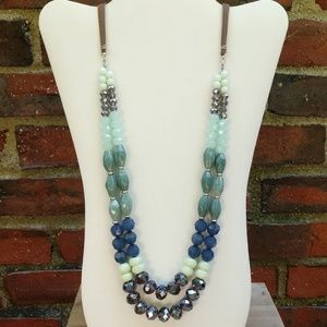Long acrylic and glass beaded necklace